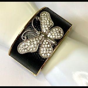 Rhinestone Butterfly Chunky Hinge Bangle Bracelet